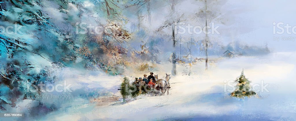 joyful family choosing a Christmas tree from winter forest stock photo