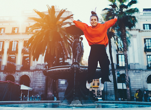 Joyful girl in Barcelona