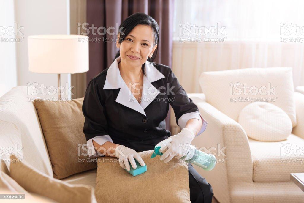 Joyful good looking chambermaid cleaning the spot stock photo