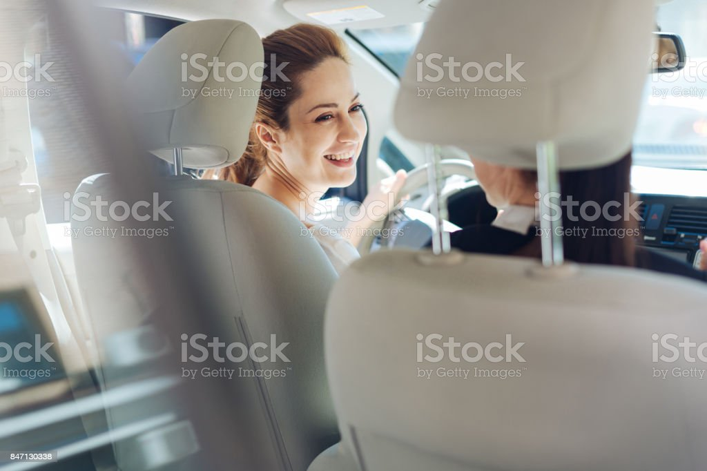 Joyful happy women laughing stock photo