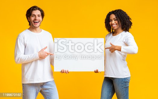 1159989540 istock photo Joyful interracial couple pointing at white blank placard in their hands 1199670152