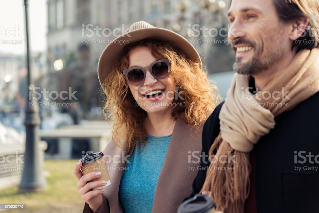 Joyful loving couple dating outdoors royalty-free stock photo