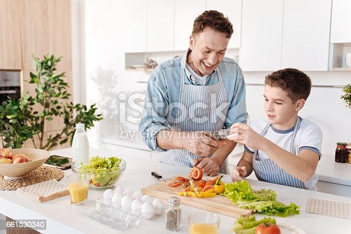 istock Joyful loving father and his son cooking together 661530340