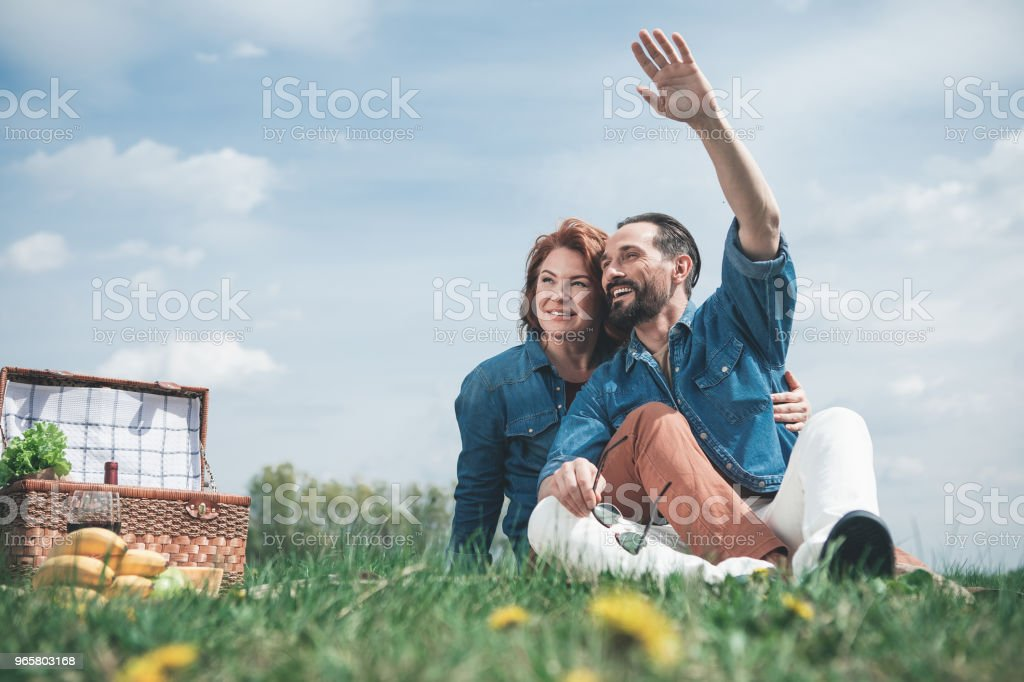 Joyful married couple relaxing in the nature - Royalty-free Adult Stock Photo