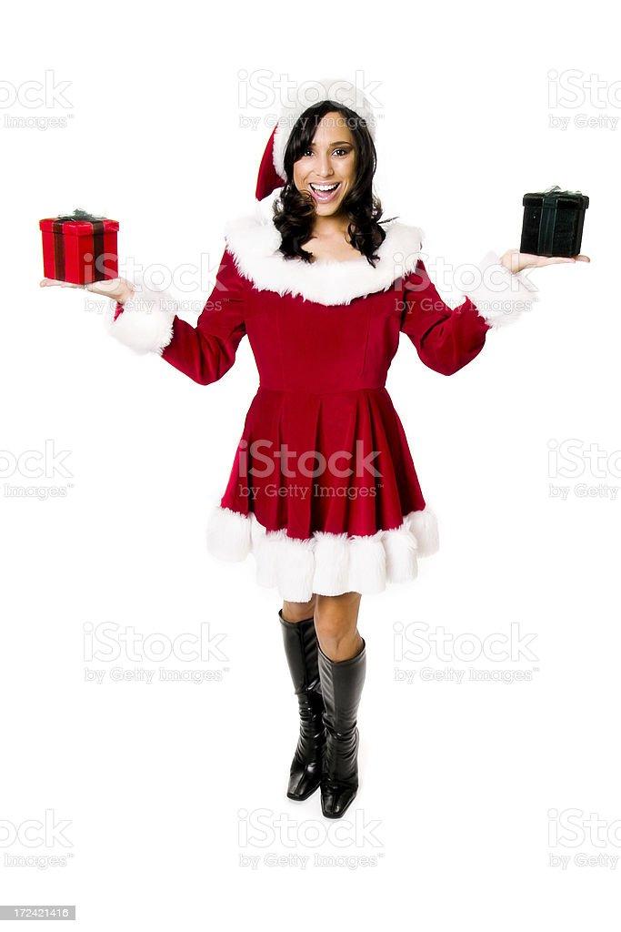 Joyful Miss Santa with Gift Boxes royalty-free stock photo