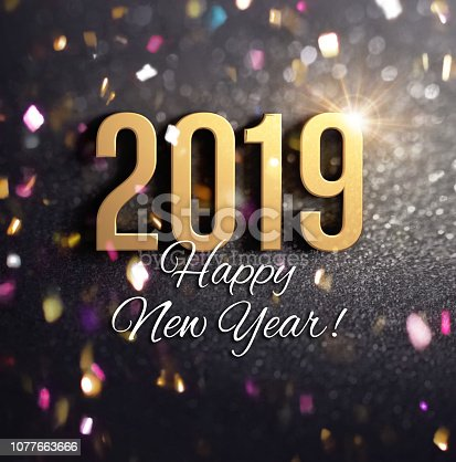 istock Joyful New Year 2019 Greeting card 1077663666