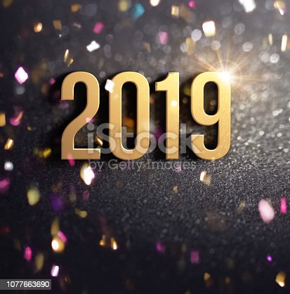 istock Joyful New Year 2019 Greeting card 1077663690