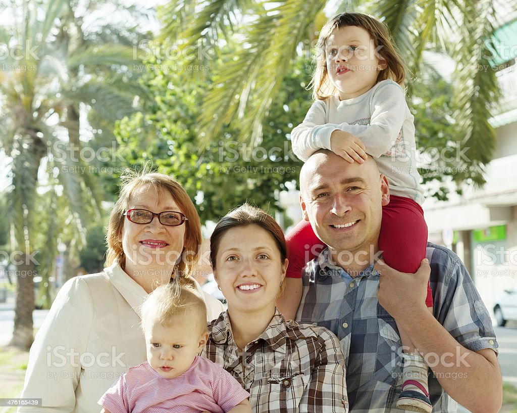 joyful parents with two children and grandmother  er royalty-free stock photo