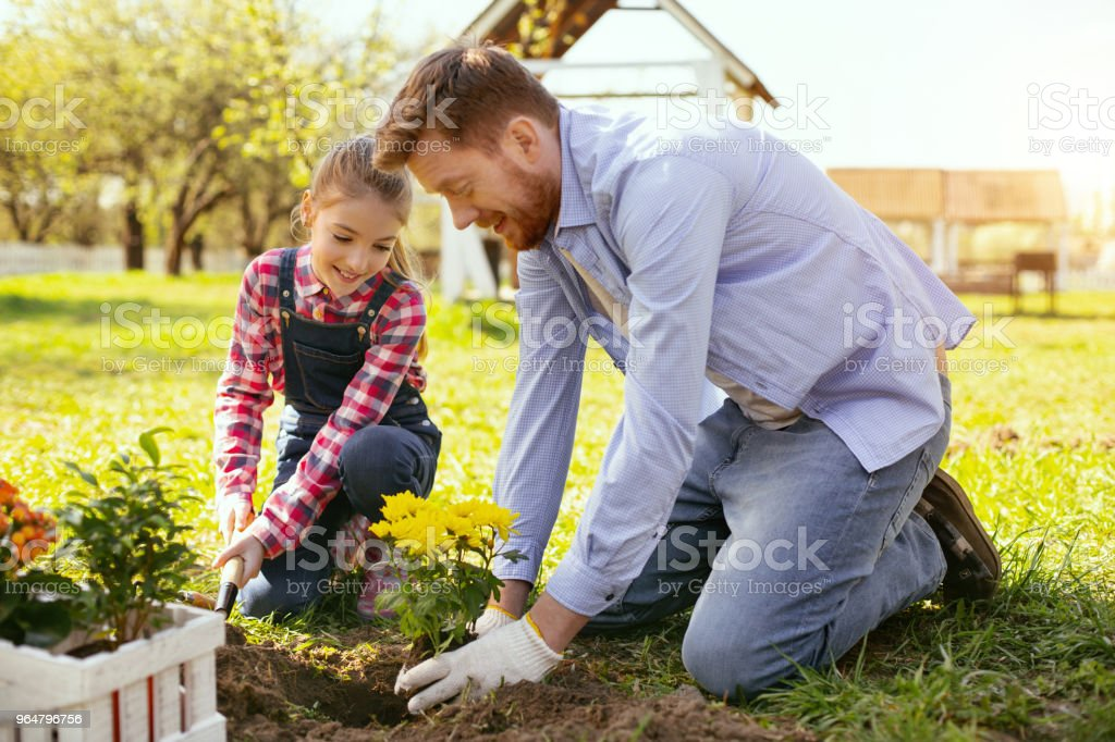 Joyful positive father and daughter having fun royalty-free stock photo
