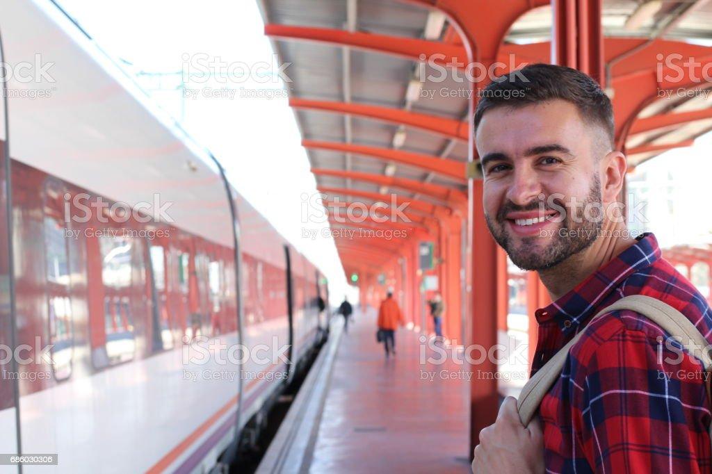 Passageiros do transporte público alegre com espaço de cópia - foto de acervo