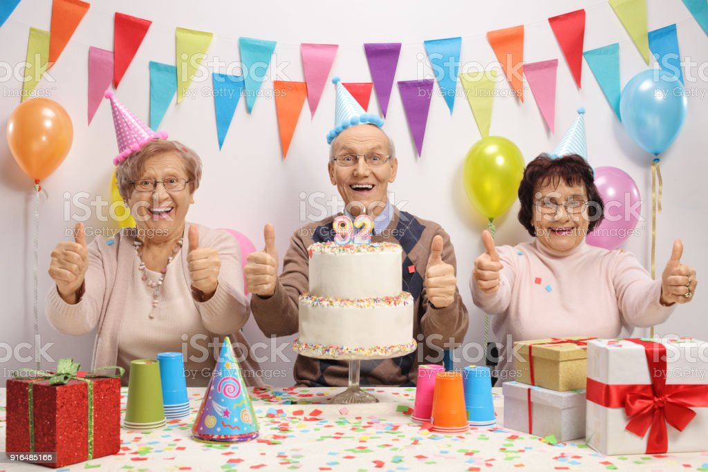 Joyful Seniors Celebrating A Birthday