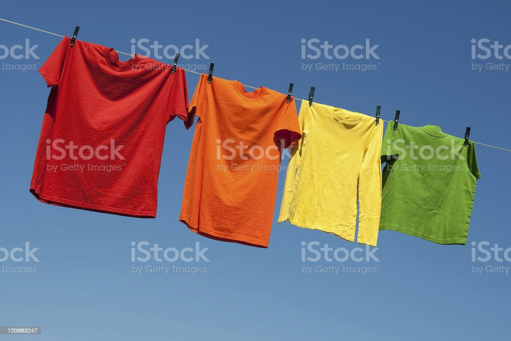 Joyful summer laundry stock photo