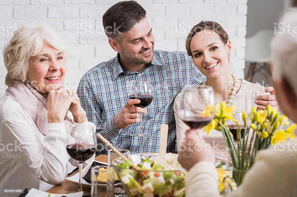 Joyful time with loved ones stock photo
