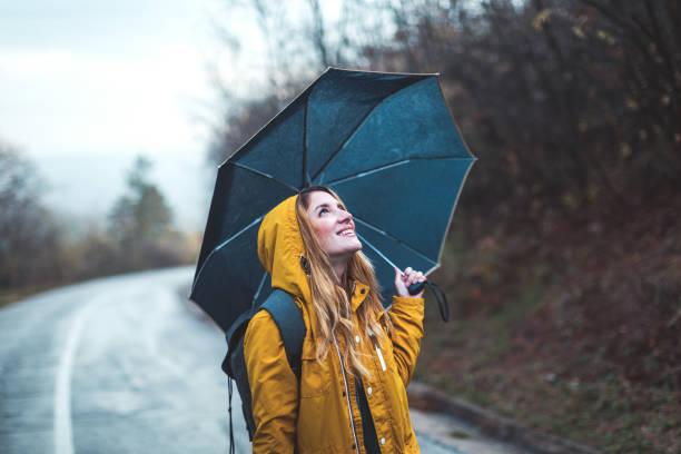 Joyful woman in nature stock photo