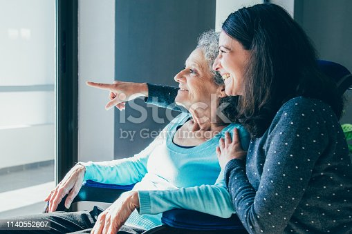 Joyful woman taking care of elderly mother. Young woman hugging senior lady and showing something out of window. Positive emotions concept