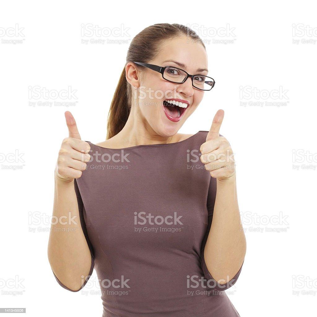Joyful young woman showing OK sign royalty-free stock photo