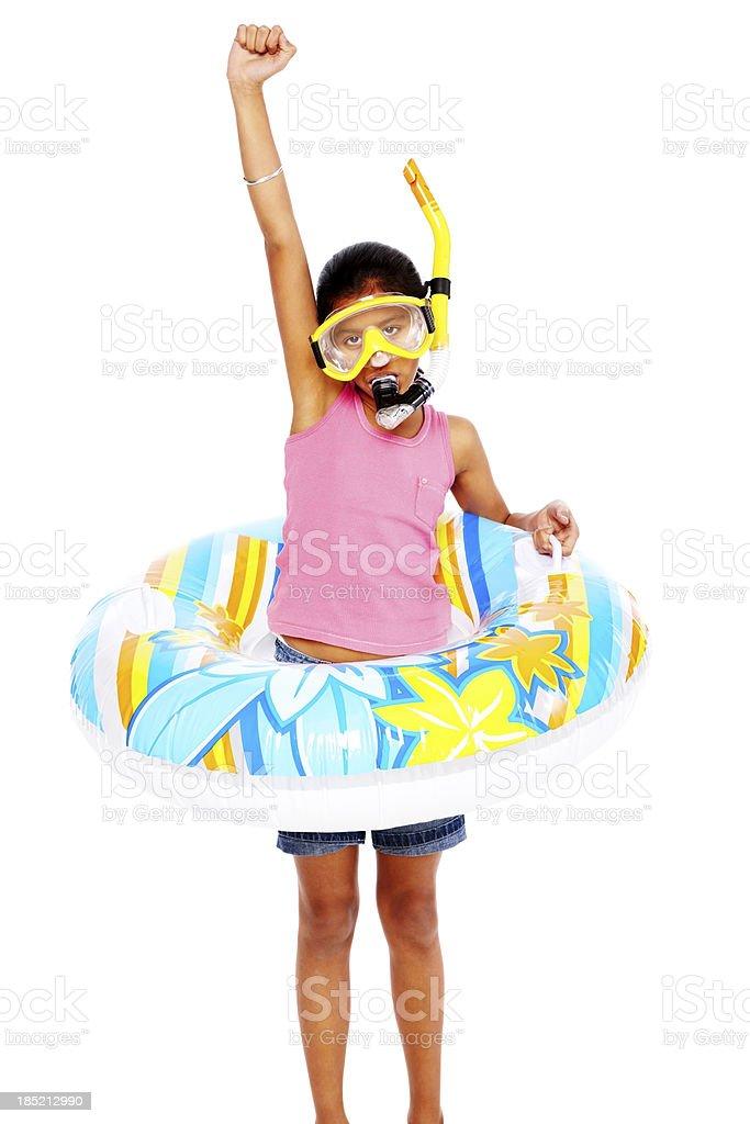 Joyous little girl wearing snorkeling gear standing on white royalty-free stock photo