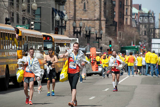 joys before the tragedy at boston marathon 2013 - boston marathon stock photos and pictures