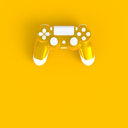 istock Joystick abstract minimal yellow background, Gaming concept, 3d rendering 935217722