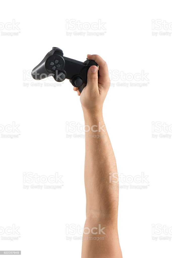 Joystick in hands (Clipping path) stock photo