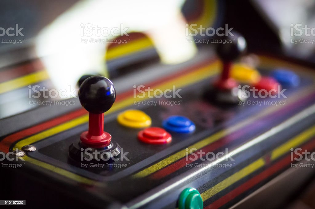 Joystick of a vintage arcade videogame - Coin-Op stock photo