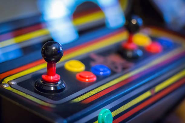 Joystick of a vintage arcade videogame - Coin-Op - foto stock