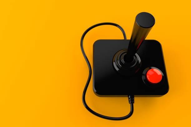 Joystick Joystick isolated on orange background. 3d illustration joystick stock pictures, royalty-free photos & images