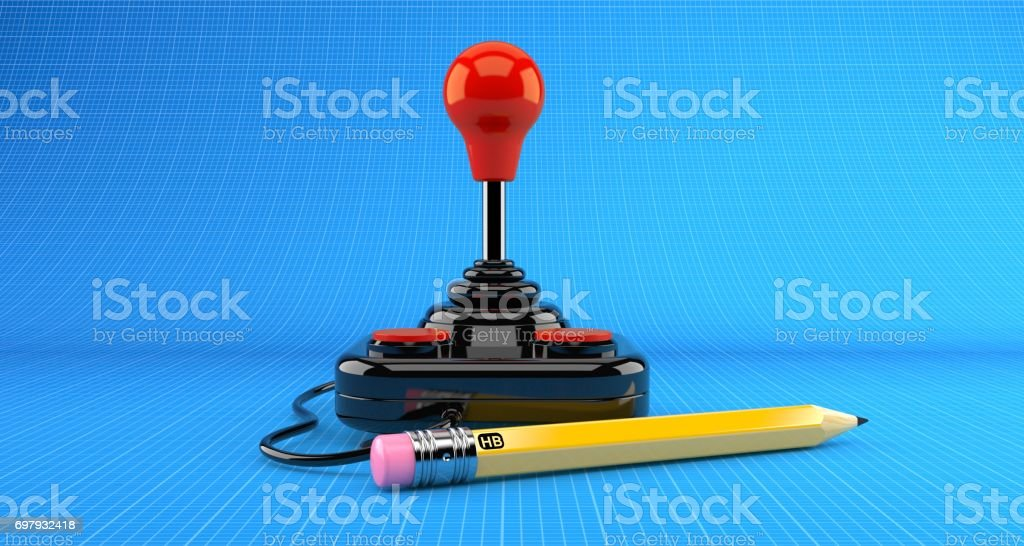 Joystick with pencil stock photo