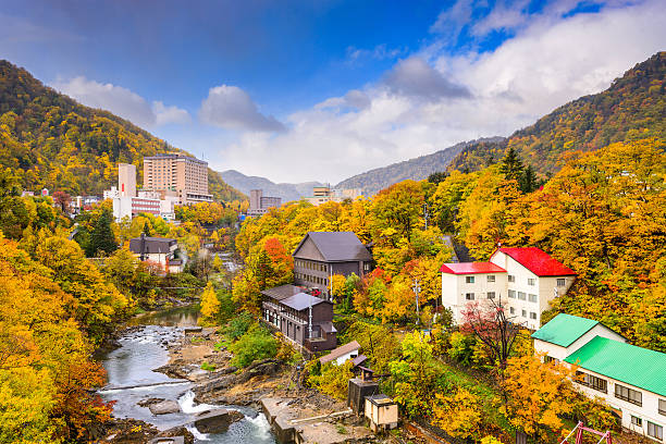 jozankei, japan town skyline - sapporo stock photos and pictures