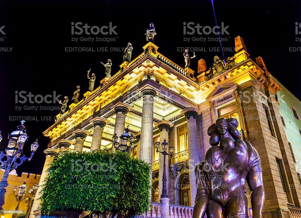 Juarez Theater Statues Guanajuato Mexico stock photo