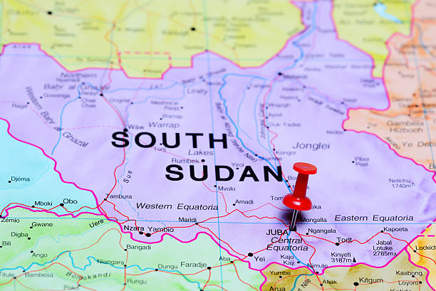 juba pinned on a map of africa - sudan stock photos and pictures