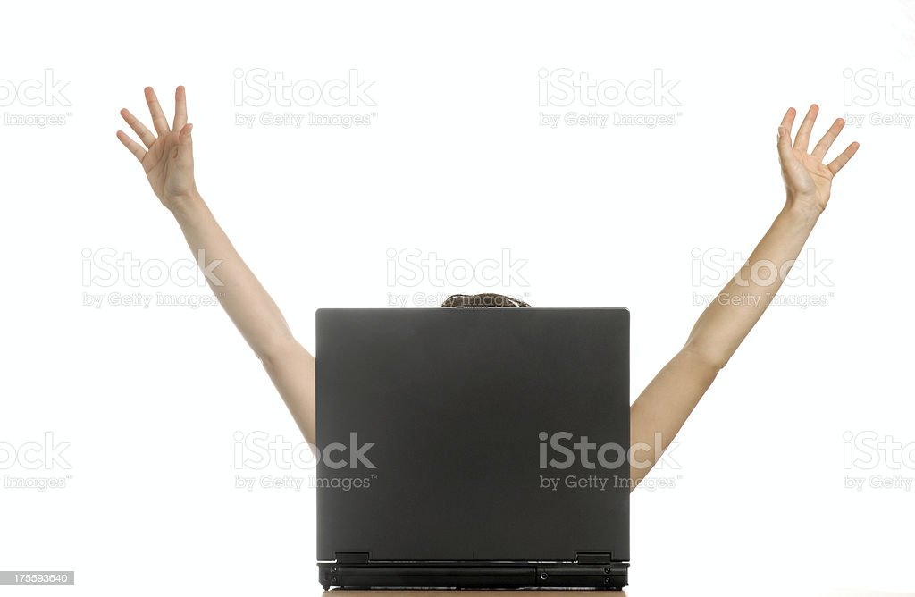 A Jubilant Person Celebrating Success at their Computer royalty-free stock photo