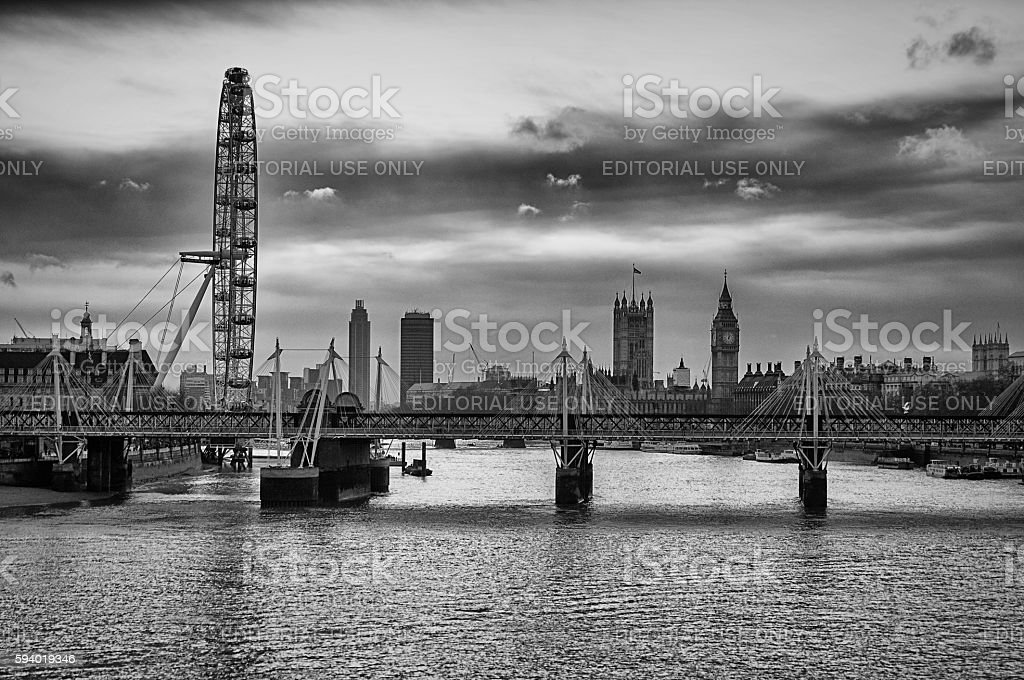 Jubilee Bridge and the London Eye stock photo