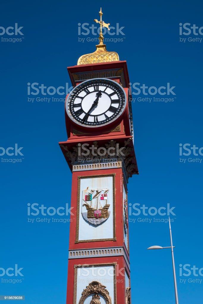 Jubilee Clock on Weymouth Seafront in Dorset, UK stock photo