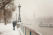 Jubilee Gardens and Westminster Palace during a snowstorm in London