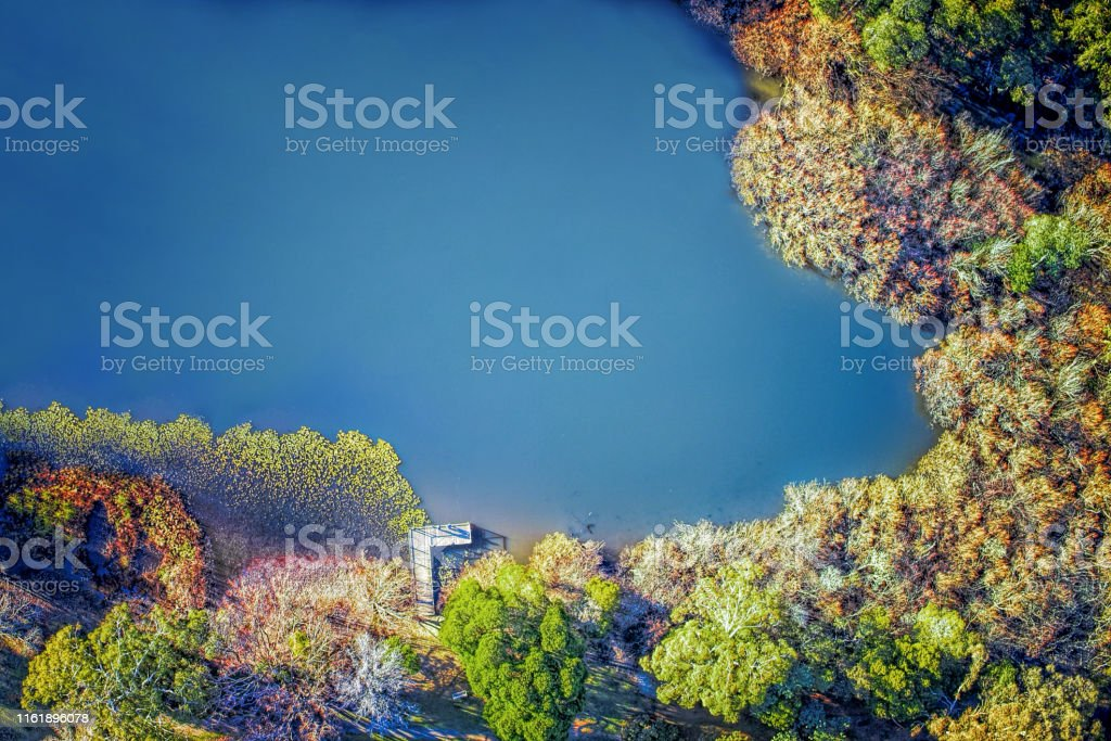 Jubilee Lake at Daylesford - Royalty-free Aerial View Stock Photo