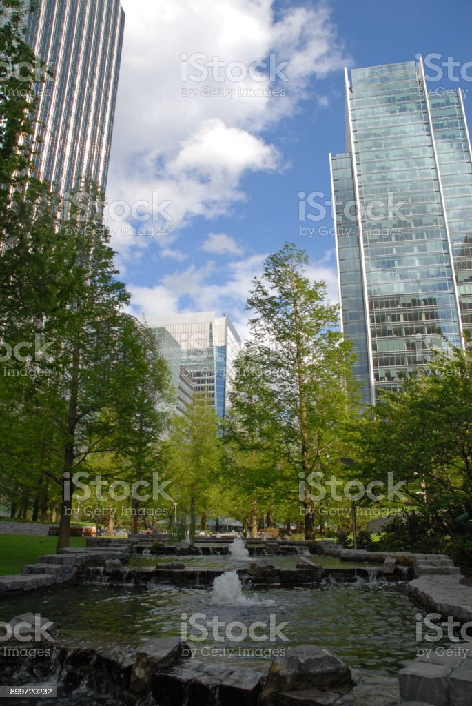 Jubilee Park in Canary Wharf stock photo