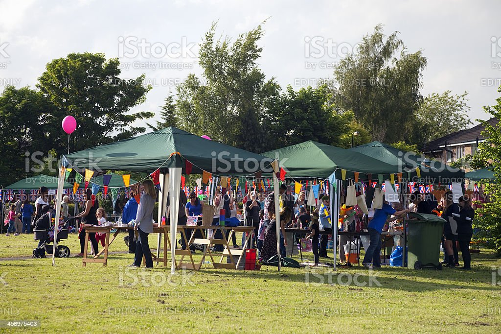 Jubilee party, gazebos, flags and bunting stock photo