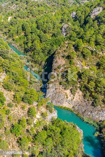 Jucar River in Cuenca aerial from Ventano Diablo in Villalba de la sierra Spain