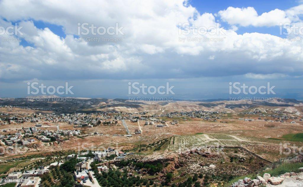 Judaean  Desert near to Jerusalem, Israel. View from Herodium (Herodion) Fortress wall. stock photo