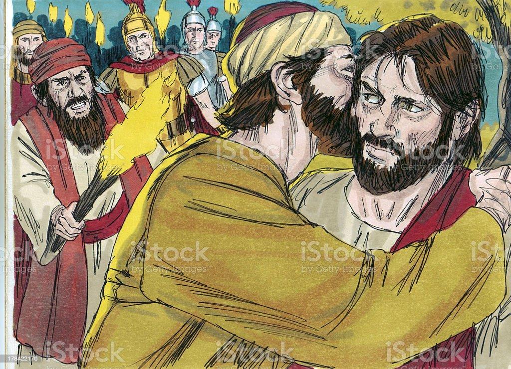 Judas Betrays Jesus stock photo