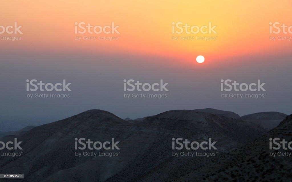 Judean Desert, Sunrise, Palestine, Israel stock photo