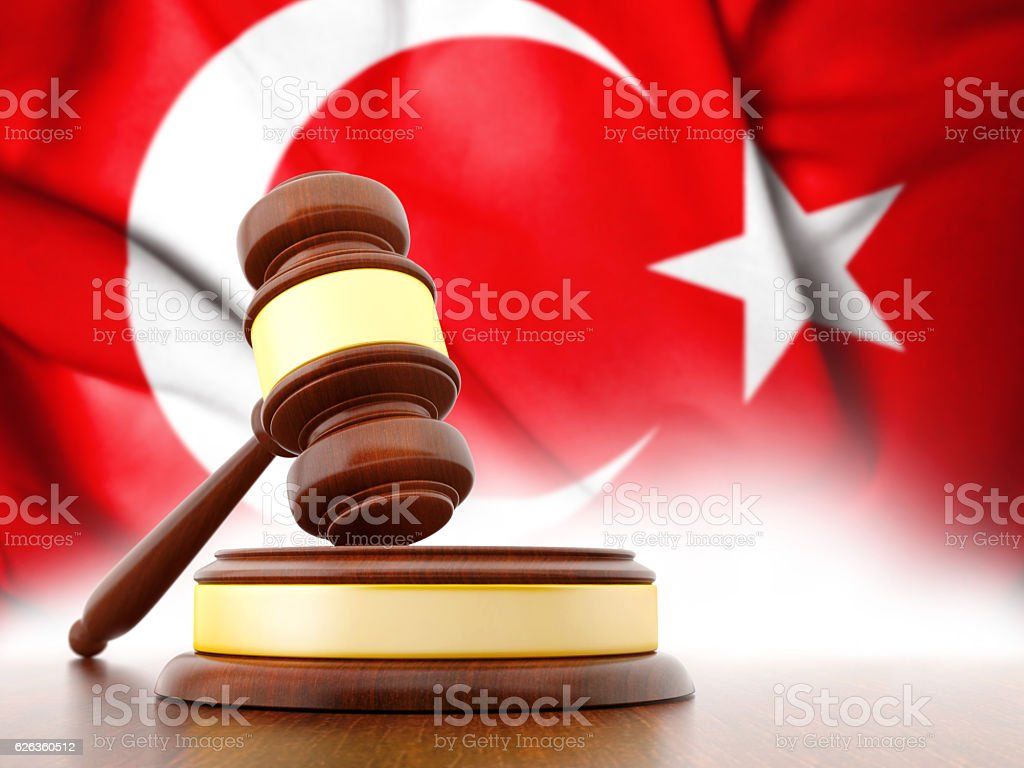 Jude's Wooden Gavel with Turkey flag stock photo
