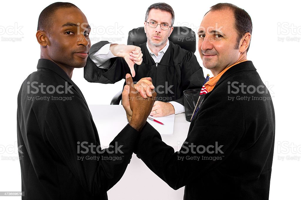 Judge Against Same-Sex Marriage and Resilient Gay Couple stock photo