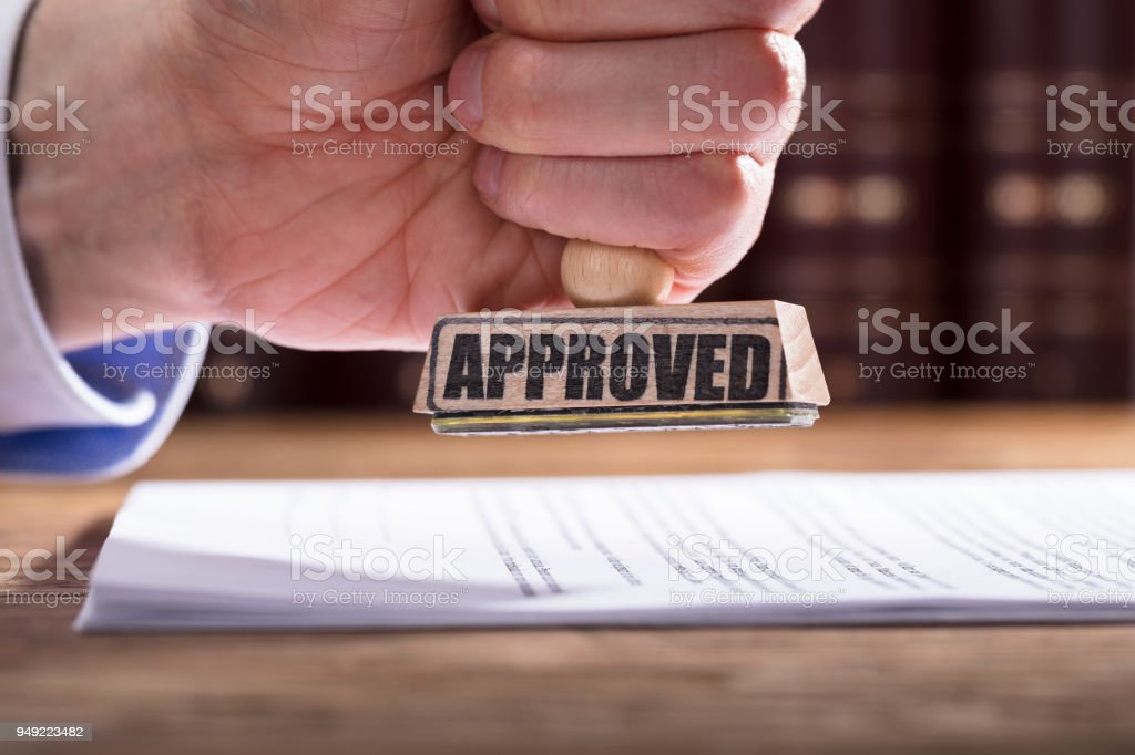 Judge Approving Contract Form stock photo