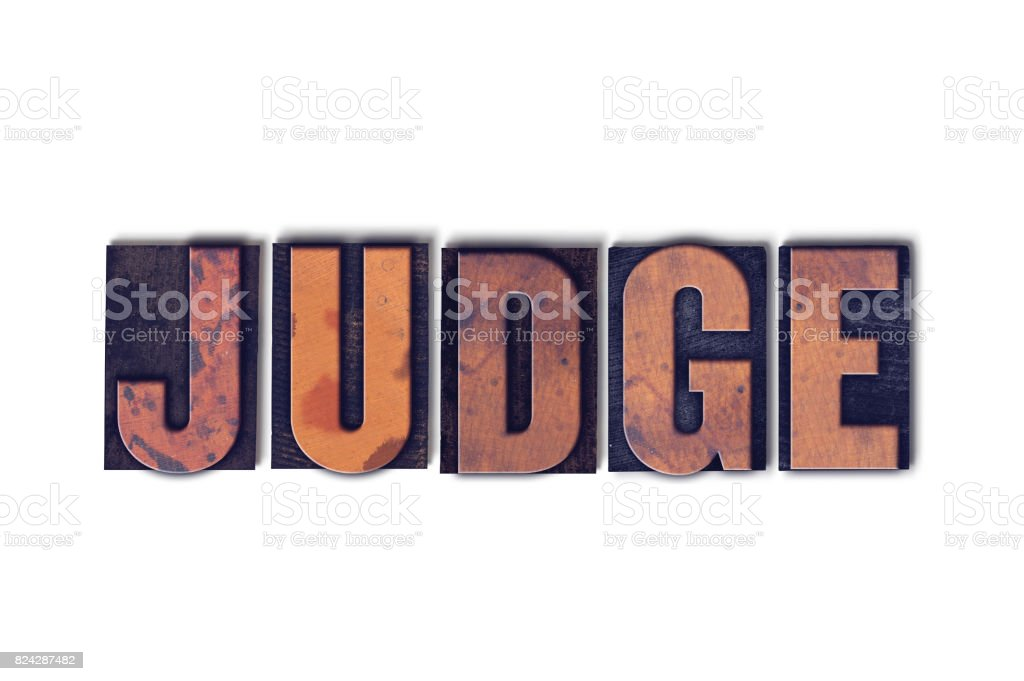 Judge Concept Isolated Letterpress Word stock photo