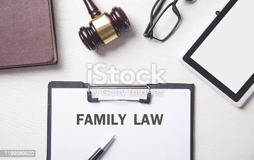 Judge gavel and other objects. Family law