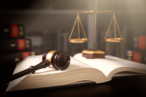 Judge Gavel And Scale In Court Legal Concept Stock Photo - Download Image Now