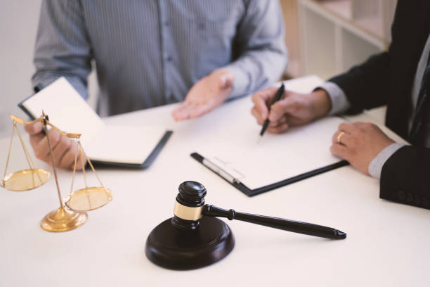 Judge gavel / Justice lawyer Consultant  meeting with client, Legal concept stock photo