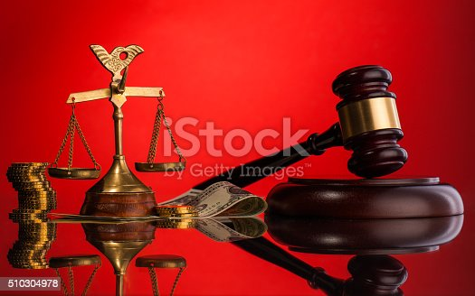 judge  gavel composition  on red background